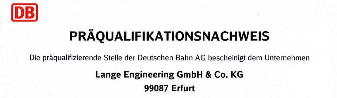 Präqualifizierter Lieferant der Deutschen Bahn AG